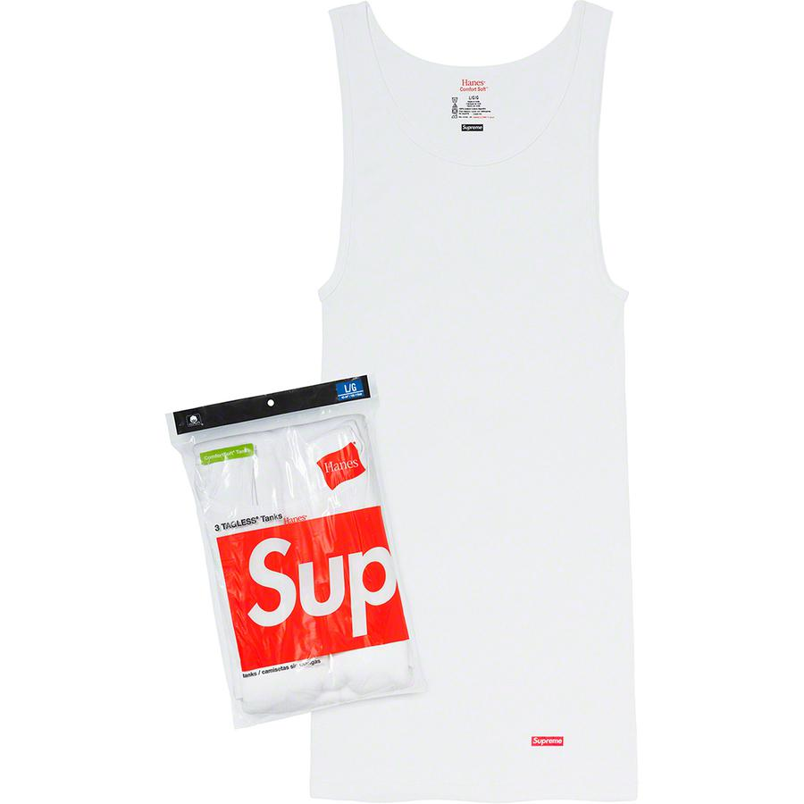 Supreme Hanes Tagless Tank Top White 3 Pack (Size S) - Hype Vault Malaysia