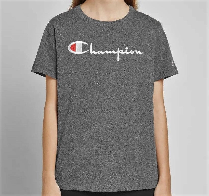 Champion Embroidered Big Script T-Shirt Dark Grey | Hype Vault Malaysia