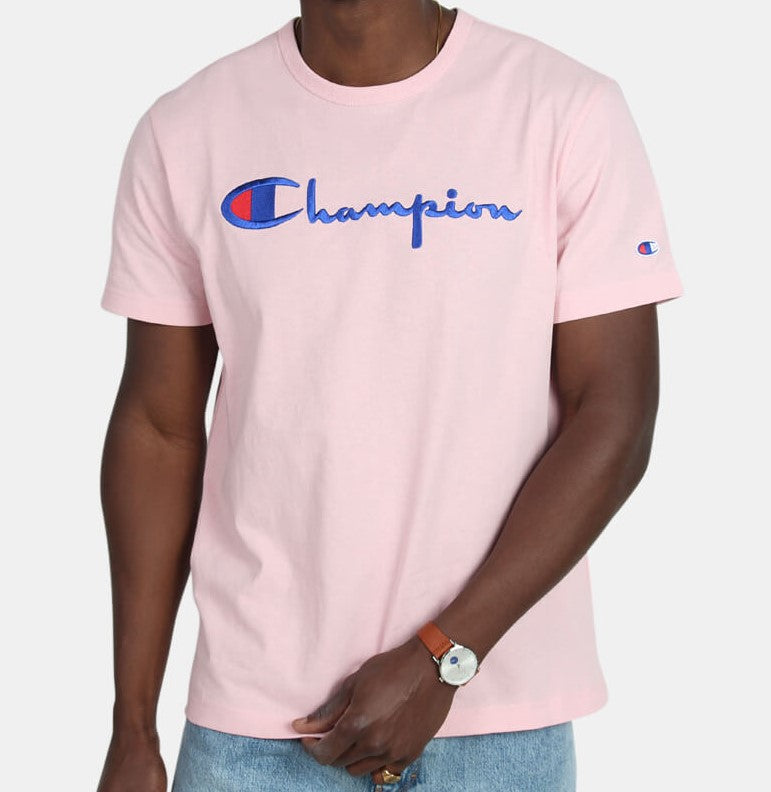 Champion Embroidered Big Script T-Shirt Pink - Hype Vault Malaysia
