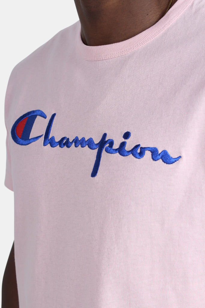 Champion Embroidered Big Script T-Shirt Pink