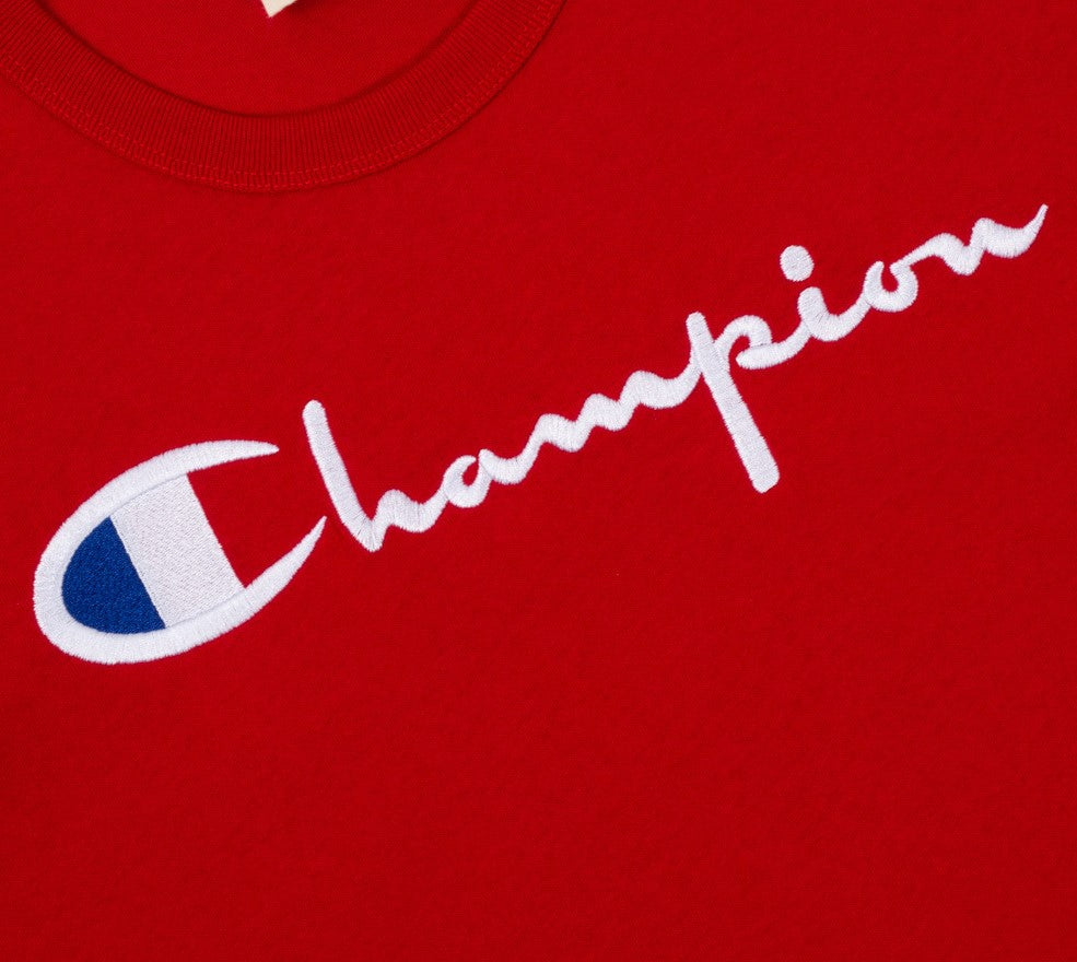 Champion Embroidered Big Script T-Shirt Red - Hype Vault Malaysia