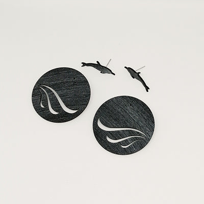 Earrings Dolphin on Waves