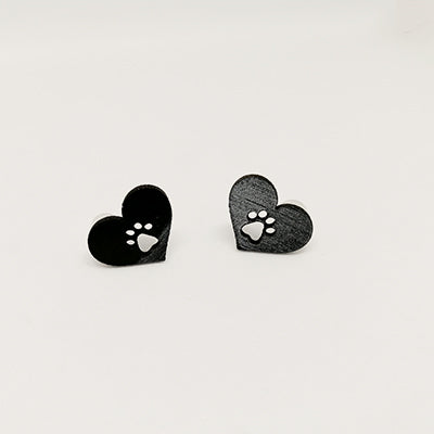 Earrings Paw in Little Heart
