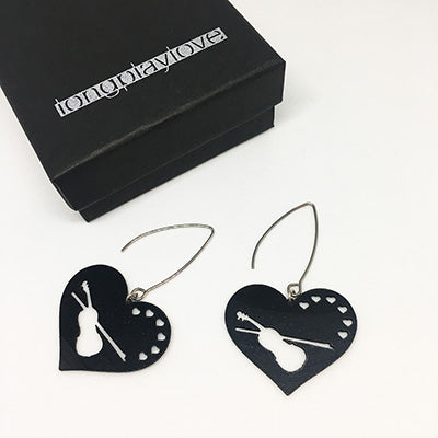 Earrings Love Violin Small Hearts