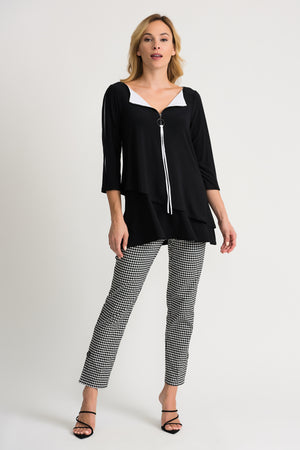 Joseph Ribkoff Tunic - 202360 - Black/Zest - The Coach Pyramids