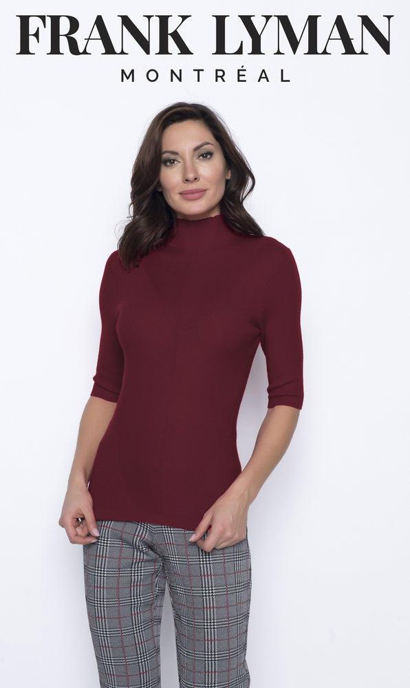 Frank Lyman 203154U Knit Top - Burgundy - The Coach Pyramids