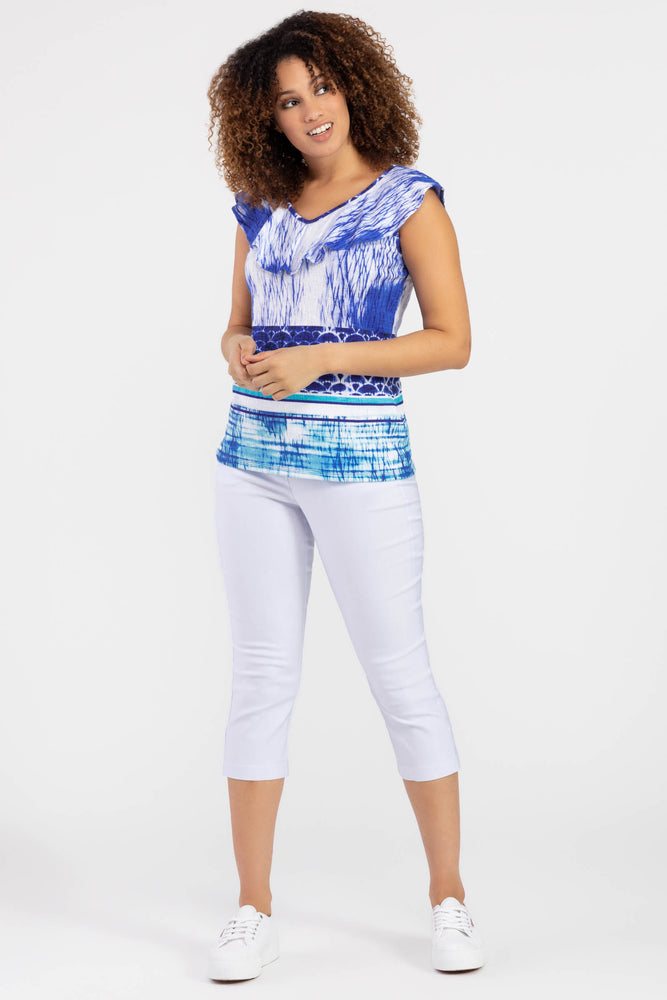 Tribal Print Top with Frill Layer - 3873 - The Coach Pyramids