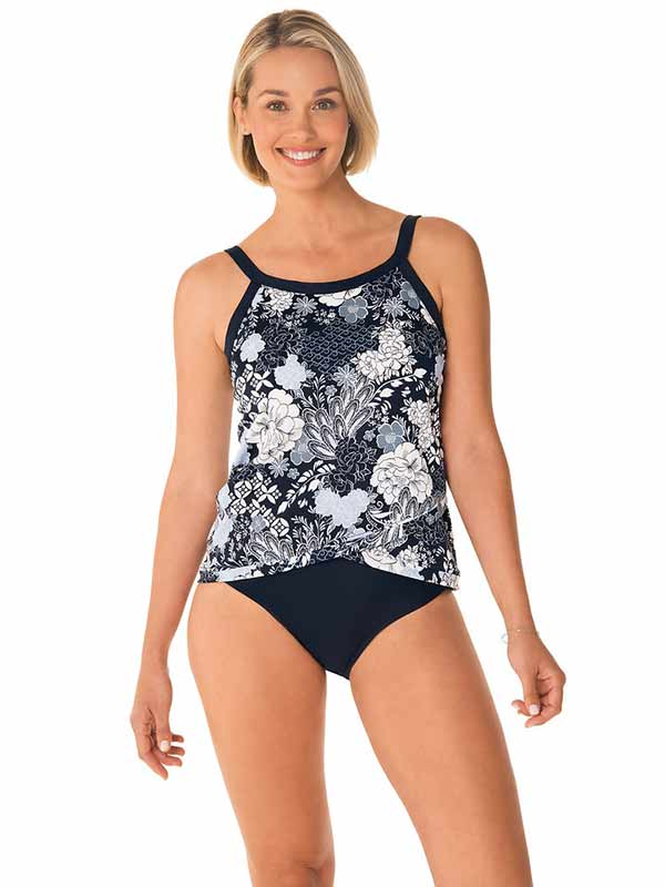 Penbrooke Navy Floral Tankini Top - 5529120 - The Coach Pyramids