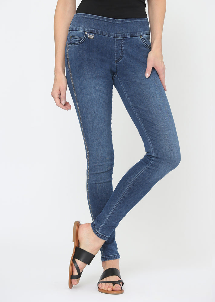Lisette L Slim Jean Style 603954 Lacey Denim, Color Denim Blue - The Coach Pyramids
