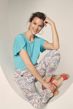 Lisette L. Slim Ankle Narrow Pant Style 63155 Coral Reef Jacquard Color Peach - The Coach Pyramids