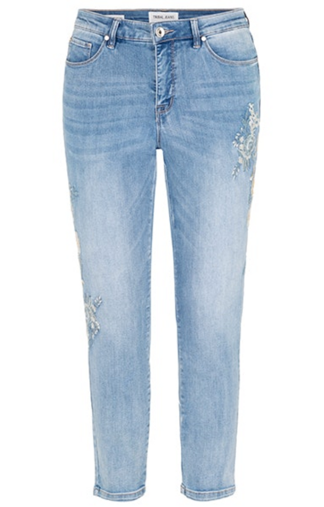 "Tribal ""Fall"" 2020 - 6705O Ankle Jeggings - Hazy Blue - The Coach Pyramids"