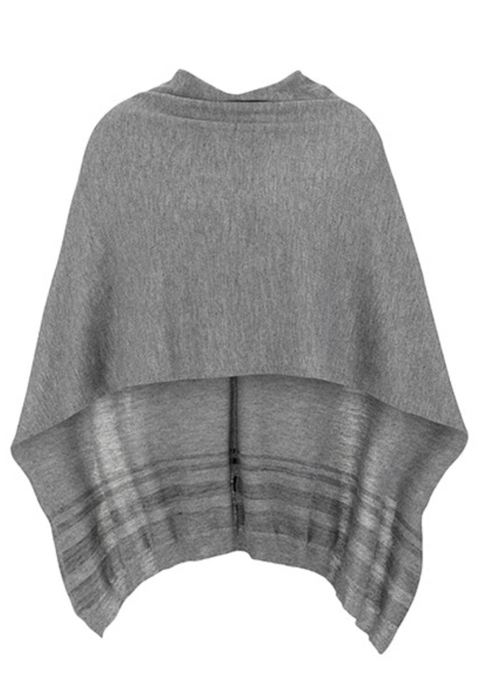 "Tribal ""Fall"" 2020 - 2 Pieces Poncho Scarf - Grey Mix - The Coach Pyramids"
