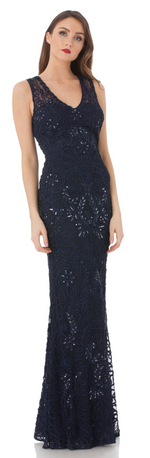 JS Collection 866248W SEQUIN EMBROIDERED LONG DRESS (Navy) - The Coach Pyramids