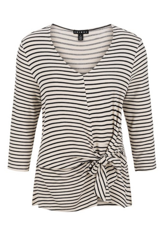 Tribal 3760O KNOT-FRONT STRIPED TOP - The Coach Pyramids