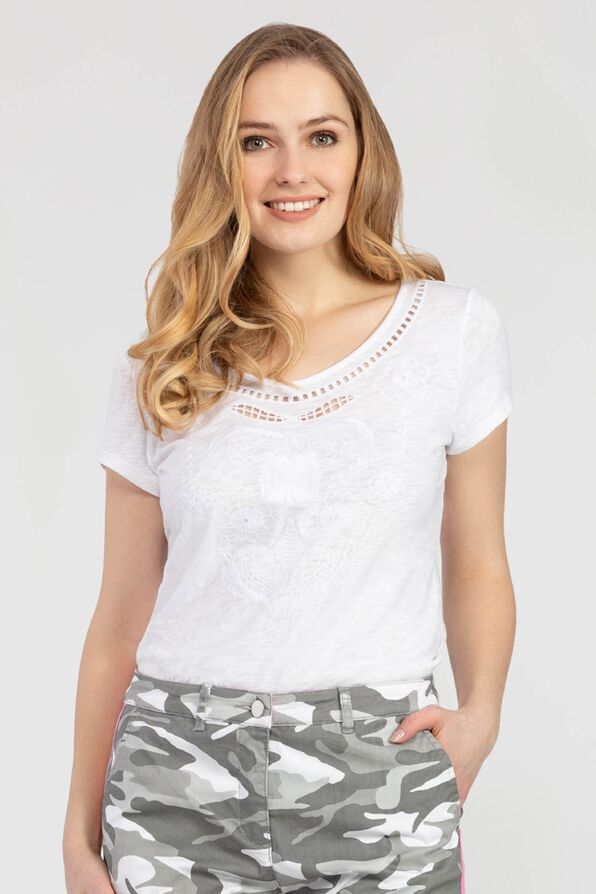 Tribal 6510O Embroidered V-Neck Top - White - The Coach Pyramids