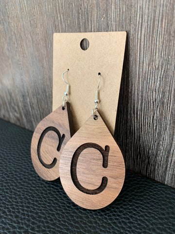 "Large ""C"" Teardrop Earrings"