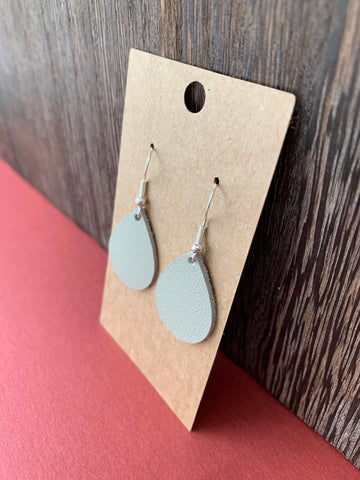Small Leather Teardrop Earrings
