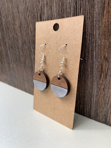Small Two-Tone Round Earrings