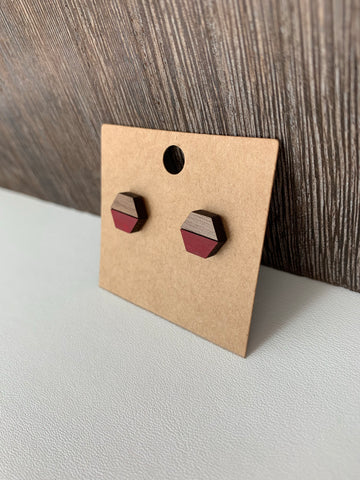 Two-Tone Hexagon Stud Earrings