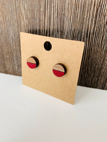 Two-Tone Round Stud Earrings