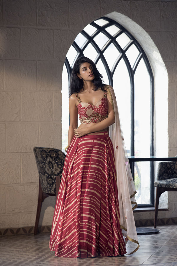 Cherry red floral/polka dot blouse, stripe lehenga