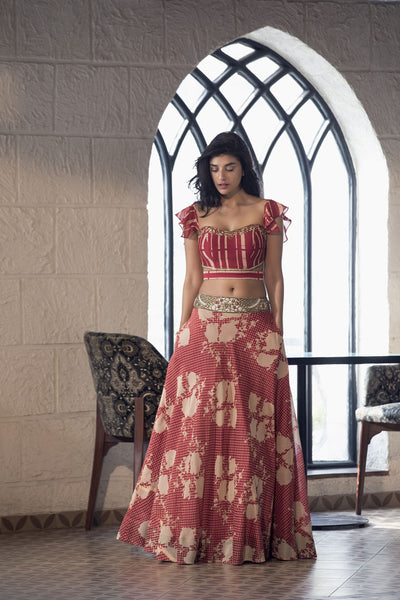 Cherry red stripe blouse, floral/polka dot lehenga