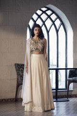 Ivory cutwork blouse, lehenga & cape
