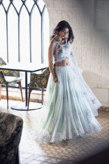 Colorful dotted blouse, sky blue high/low lehenga