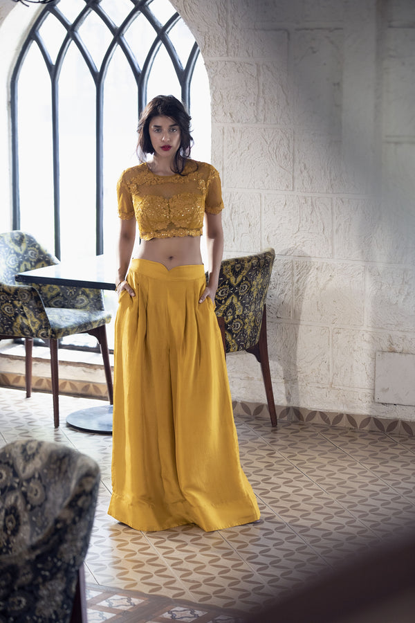 Deep mustard crop-top & palazzo pants