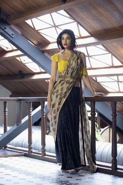 Black sequins & printed sari with mustard blouse