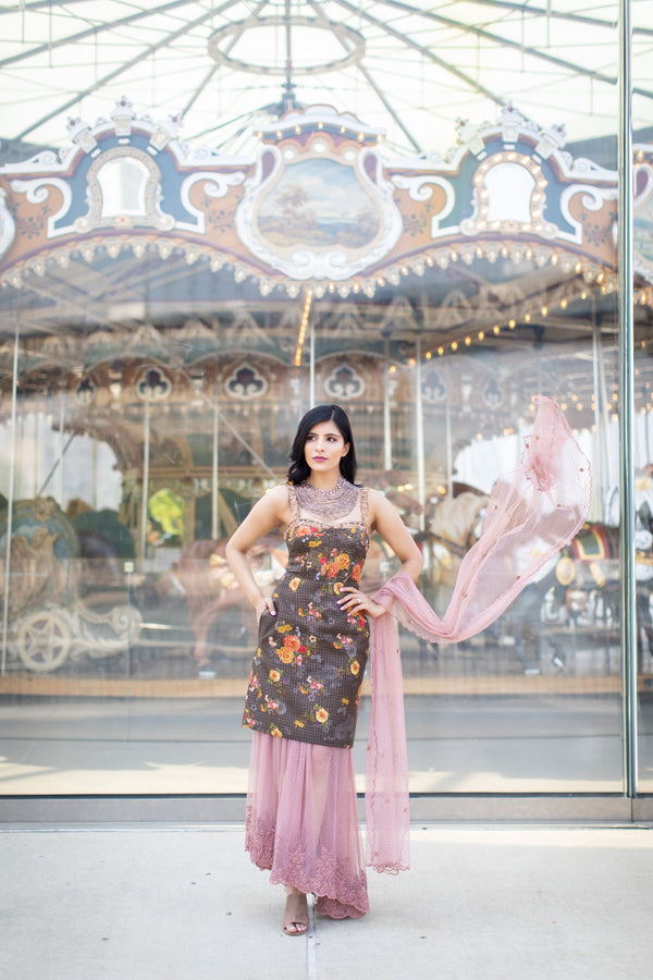 Floral kurta, sheer dusty pink skirt