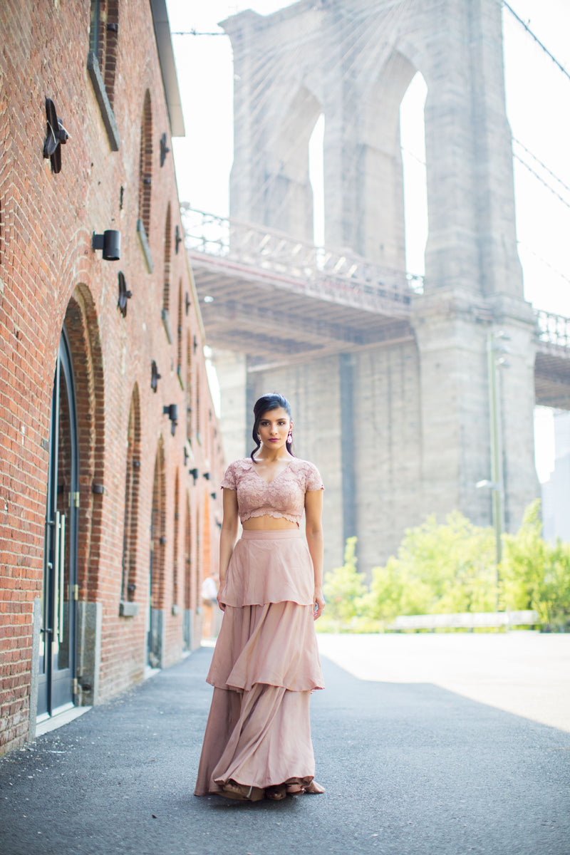 Dusty pink net blouse & layered skirt