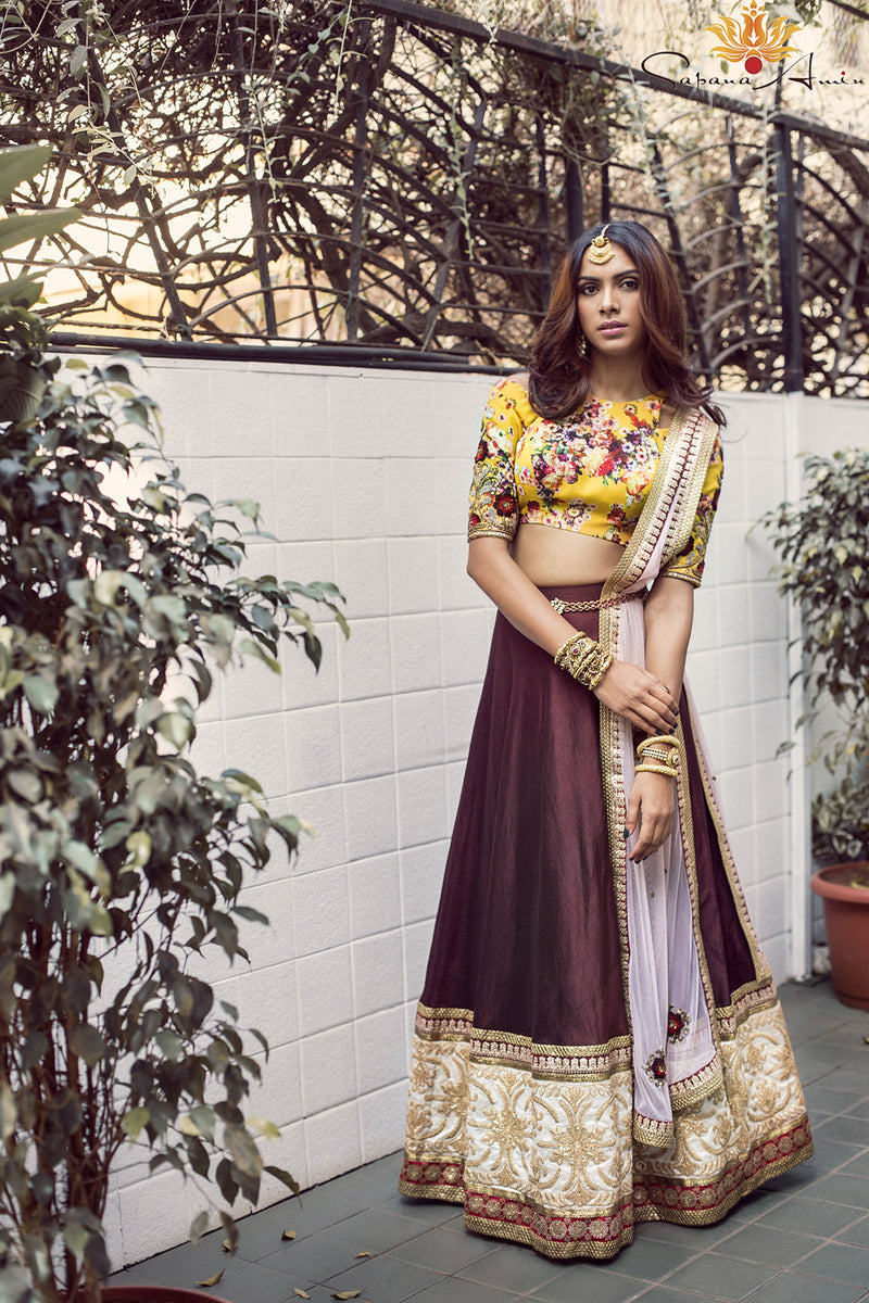 Yellow floral blouse, burgundy lehenga