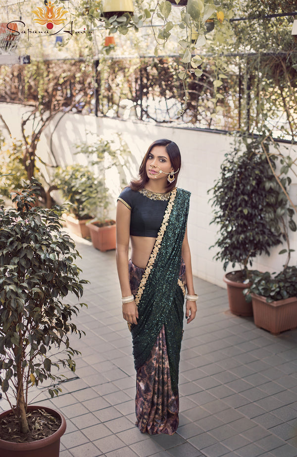 Green sequins & abstract print sari