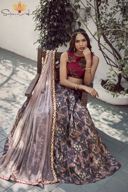 Maroon blouse, abstract print lehenga