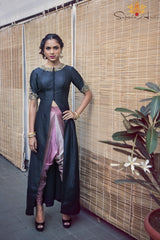 Black jacket, shaded dhoti pants