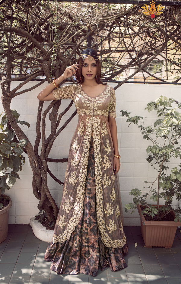 Beige embroidery net jacket, abstract print lehenga