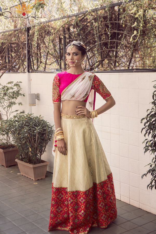 Fuchsia pink blouse with attached dupatta, Ivory lehenga