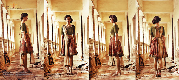 Olive green &  red tribal print anarkali