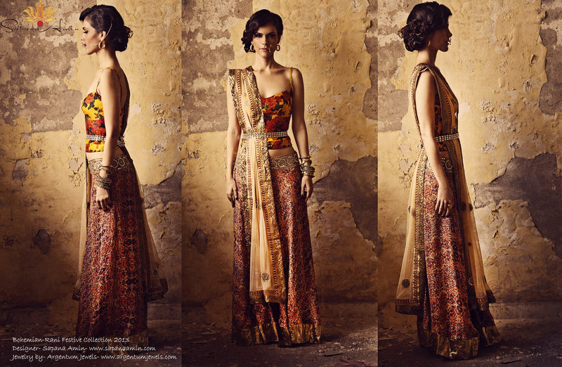 Mustard floral corset, orange tribal print lehenga