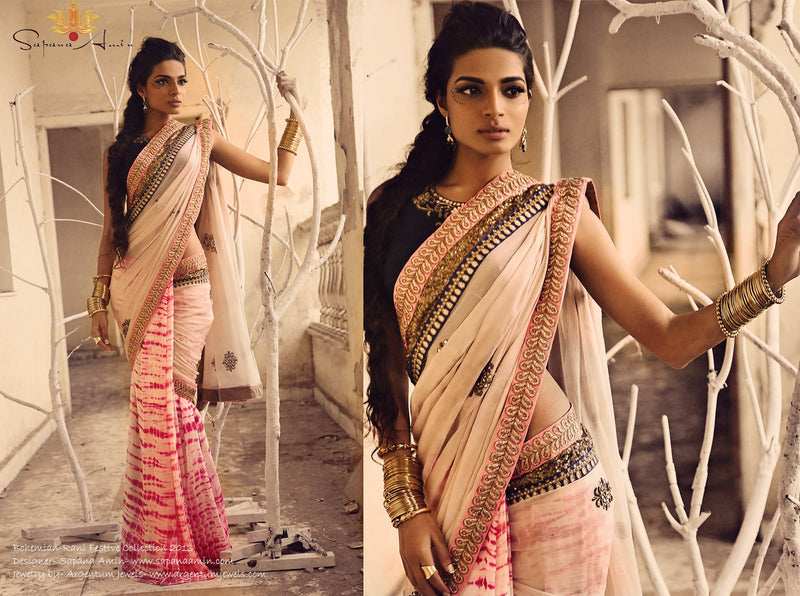Navy blue blouse, Pink/white tie-dye sari