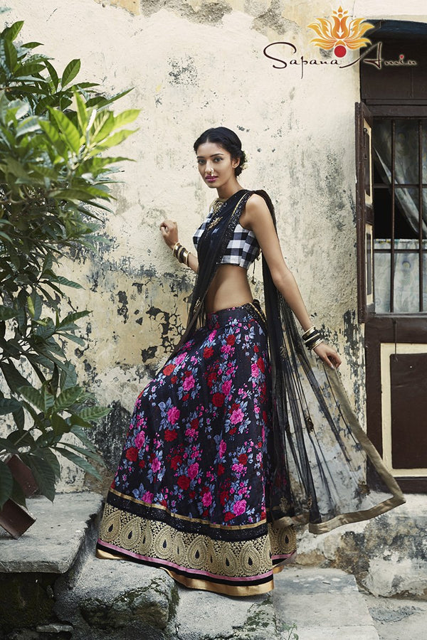Black/white gingham blouse, Black floral lehenga
