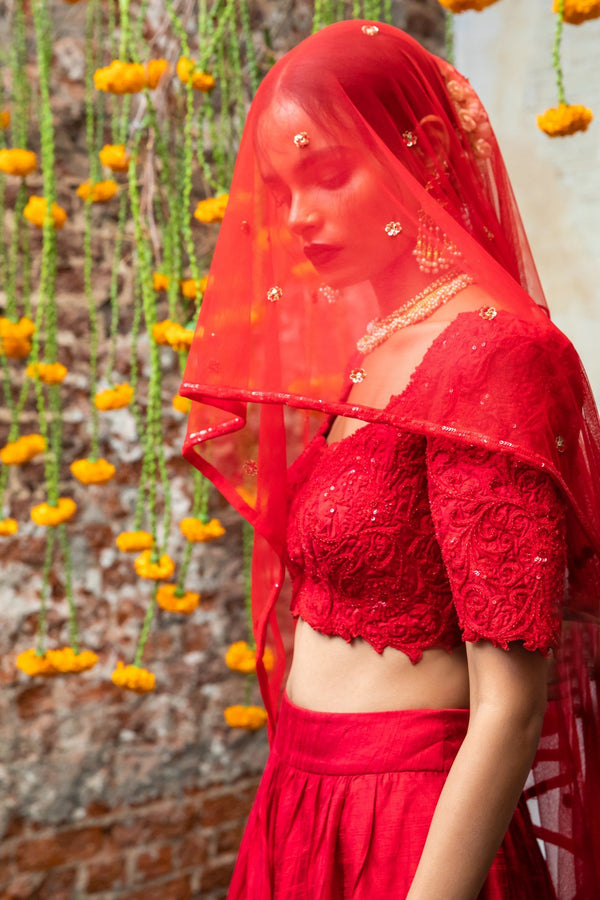 Red silk blouse, red silk lehenga