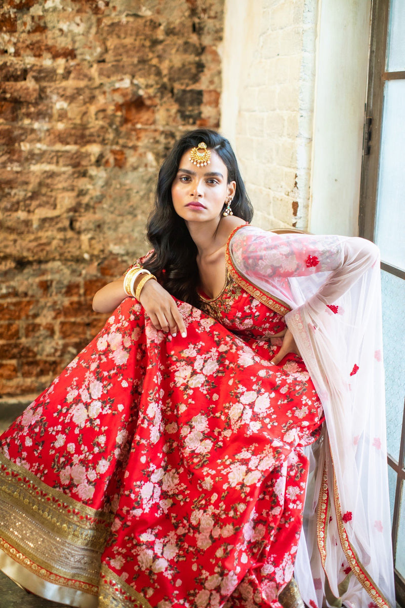 Red silk floral blouse & lehenga
