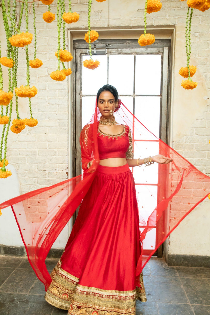 Red silk blouse with cutwork, red silk lehenga