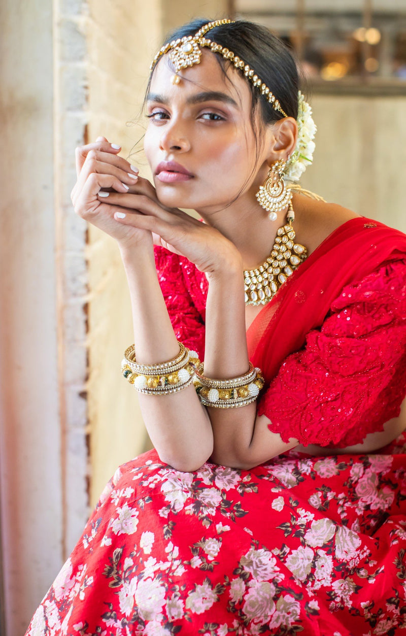 Red silk blouse, red silk floral lehenga