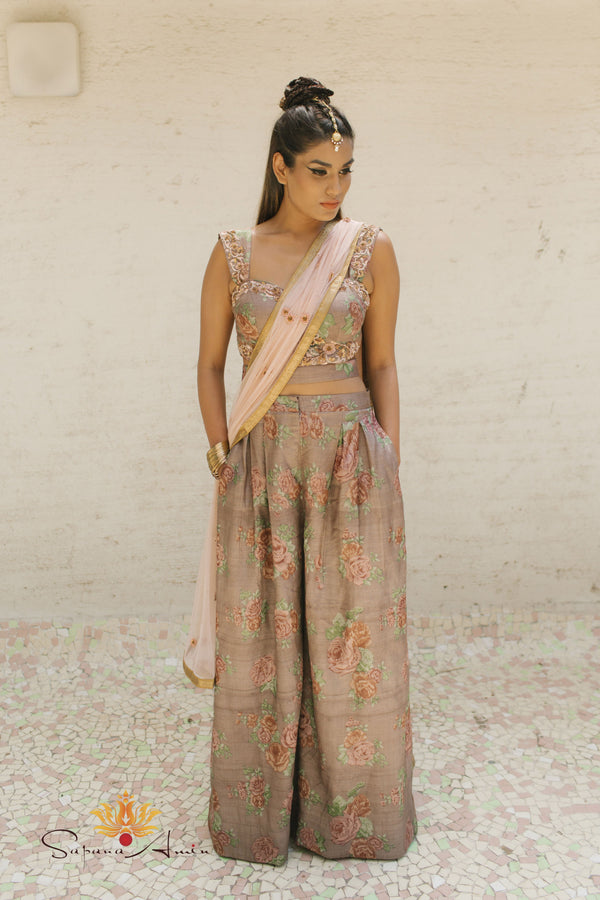 taupe vintage floral crop-top & palazzo pant