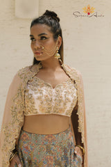 Blush embroidered blouse, peacock printed lehenga