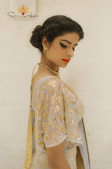 Dusty mint bell sleeve blouse & lehenga