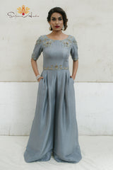Dusty blue silk jumpsuit